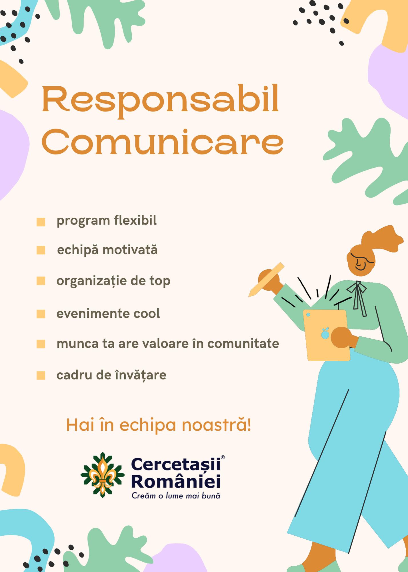 Apel de angajare – Responsabil Comunicare